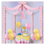 1st Birthday Party Canopy - Pink makes it quick and easy to decorate for a little girl's party. Perfect to hang over a gift or cake table, this fully assembled hanging decoration includes pink tissue garlands, pink tissue ball, and printed card stock sign