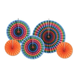 The Fiesta Accordion Paper Fans are made of paper and include an assortment of serape printed and orange fans. Each package includes 2 measuring 9 inches, 2 measuring 12 inches, and 1 that measures 16 inches. Contains five (5) fans per package.