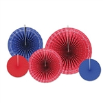 The Bandana Accordion Paper Fans contain assorted bandana, red, and blue paper fans. (2) measure 9 inches, (2) measure 12 inches, and (1) measures 16 inches. Contains five (5) per package.