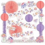 The Mother's Day Decorating Kit is a budget friendly way to decorate an area or event for Mother's Day. Each kit contains over 20 pastel color decorations with floral theme. Contains tissue fans, balls, streamers and printed cutouts and banners.