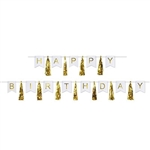 The Happy Birthday Tassel Streamer is made of alternating white cardstock cutouts with gold foil lettering and metallic gold tassels. Each package contains 2 pieces. Can be used seperately or combined to create one streamer.
