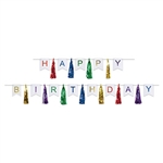 Give big birthday wishes with this Happy Birthday Tassel Streamer.  Your guest of honor will be wowed when the see this large multi-colored tassel streamer hanging from the wall!  Comes completely assembled and contains two ready to hang streamers.
