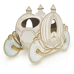 The 3-D Carriage Centerpiece is made of cardstock and printed on two sides. It's ivory with gold accents and printed with intricate details. Measures 11 inches long and 7 1/2 inches tall. Contains one (1) per pack. Assembly required.