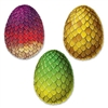 The Dragon Egg Cutouts are made of cardstock and printed on two sides. They measure 17 inches tall and 12 1/2 inches wide. Contains three (3) per package.