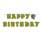 The Birthday Dinosaur Streamer is made of cardstock and measures 6 inches wide and 10 feet long. Happy Birthday is written in green lettering that resembles dinosaur scales. One cord and 14 cards per package. Simple assembly required.