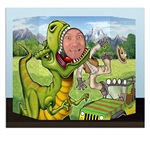 The Dinosaur Photo Prop depicts a mean looking T-Rex with an open mouth. Inside that open mouth is a cut out area for a person to peek through and appear as though they are about to be eaten. Made of card stock and designed to stand on a table top.