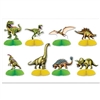 The Dinosaur Mini Centerpieces are made of cardstock with a tissue base. Printed two sides. Sizes range in measurement from 4 inches to 6 1/4 inches. Completely assembled, open round. Contains 8 per package.