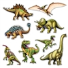 The Dinosaur Cutouts contains 8 different dinosaurs. They are made of cardstock and printed on two sides. Sizes range in measurement from 10 inches to 19 inches. Contains 8 pieces per package.