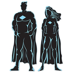 These silhouettes are excellent for a superhero themed birthday party. The male superhero measures 36 inches tall, while the female superhero measures 33 inches tall.