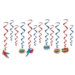 At your child's superhero party, these Hero Whirls are excellent hanging decorations. Each whirl in the package measures anywhere from 17 inches to 31 inches. but each one is made with the same high-quality that you expect! Comes 12 whirls per package.