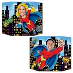 Everybody can be a super hero with the Hero Photo Prop. Printed on both sides of card stock material, this photo prop features a male super hero on one side and a female super hero printed on the other. Contains one prop per package.