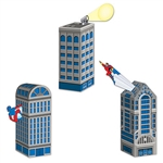 Fill up these Hero Cityscape Favor Boxes with some goodies and use them as centerpieces or party favors. It's up to you! Two of the favor boxes measure three inches by nine inches, while the other favor box measures three inches by eight inches.