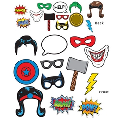 These cardstock photo props are a fun accessory to show everybody you're a villain or a hero! Each of these twelve hand held signs are printed on both sides, allowing you to create multiple characters.