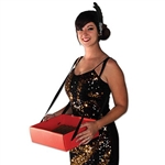 The Cigarette Girl Party Tray is a great accessory to complete any 1920's ladies costume. Bright red tray is made of corrugated cardboard and includes adjustable black web ties to allow for comfortable carrying. Generous 11 x 13 size and 4 inches deep.
