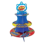 There's no better way to properly arrange the sweet treats than by using this Hero Cupcake Stand. The fun, colorful stand measures in at 16 inches tall and has three levels where you can arrange cupcakes, brownies, etc. Comes one stand per package.