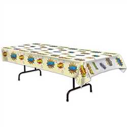 This rectangular plastic table cover is colorfully printed with Pow! Bang! Kaboom! Bam! Great for your next comic themed party, this inexpensive disposable table cover will make cleaning up after your villains or heroes a breeze.