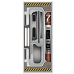 Decorate the door with this Spaceship Door Cover to instantly transform your door into a high-tech spacecraft entrance. It measures 30 inches wide by six feet tall and is good for any type of weather. Comes one decorative door cover per package.