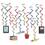 Looking for an inexpensive way to add color, motion and interest to your classroom?  Hang these School Days Whirls to brighten up the classroom.  Each package comes with 12 whirls, six are 17.5 inches long, six are 33.75 inches long with danglers.