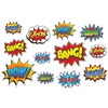 These Hero Action Sign Cutouts are action-packed, colorful and loud! There are12 pieces in the package, with each one measuring anywhere from as small as six inches to as large as 12 ½ inches.