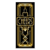 "The Great 20's Door Cover measures 30 inches wide by six feet tall and properly sets the theme for the evening. It even says ""Cheers"" right in the middle of it. The black and gold colors of the door cover will certainly generate some excitement!"