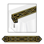 Transform a plain, boring table into a festive 1920's table with the Printed Great 20's Table Runner. It features an intricate black and gold design that will really add to your already amazing party! The table runner measures six feet long. One per pack.