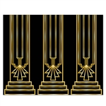 This Great 20's Backdrop is a quick and easy way to transform a regular living or dining room into a party room of the great 1920's! This backdrop measures four feet tall by 30 feet long and features a unique black and gold design. Comes one per package.