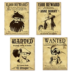 Our Pirate Wanted Sign Cutouts are perfect for your pirate themed party. The sign cutouts feature four of some of the worst pirates ever to walk the Earth including Blackbeard, Anne Bonny, El Draque and of course, the Notorious One-Eyed Jack.