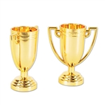 These mini Trophy Cups are the perfect party favor for any type of party. They are made of plastic, but still carry that gold color that is synonymous with champion. Each trophy measures 2 1/4 inches by 2 3/4 inches and come eight per package.