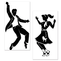 Bust a move and decorate with our Rock & Roll Props. There is one male and one female prop in the package, measuring 5.29 feet and 4.67 feet respectively. The props are suited for indoor and/or outdoor use. Comes two per package.