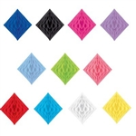 The Tissue Diamond decoration allows you to add a pop of color anywhere! Available in a multitude of solid colors, simple open  to expose the honeycomb tissue. Open halfway, to attach to a wall, or open fully to hang with the attached string. 12.5 by 12