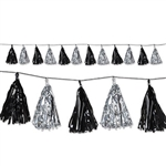 Add an elegant touch to any party with our black and silver Metallic Tassel Garland. The garland measures eight feet long and each of the 12 foil tassels on the garland measures approximately 9 inches. One garland per package.