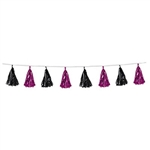 Our Metallic Tassel Garland in cerise and black create an appealing, elegant color combination. The garland measures 8 feet long and features twelve metallic tassels, each alternating in color between black and cerise. One garland per package.