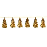 The Metallic Tassel Garland- Gold is made of a gold metallic foil material. Measures 9 3/4 inches by 8 feet long. Contains one (1) per package.