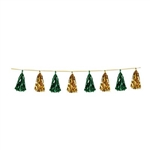 The Metallic Tassel Garland - Green & Gold measures 8 long and contains 12 tassels. Each tassel measures approximately 9 inches long. One per package.