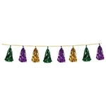 Decorate for a Mardi Gras by hanging our gold, green and purple Metallic Tassel Garland all around the party venue. It measures 8 feet long and is sure to be a hit among your guests. Comes one garland per package!