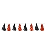 The Metallic Tassel Garland - Black & Orange measures 8 feet long and contains 12 tassels. Each tassel measures approximately 9 inches long. Contains one (1) garland per package