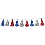 Decorate for any patriotic or election theme party with our red, silver and blue Metallic Tassel Garland. This eight foot long garland contains twelve tassels alternating in color between red, silver and blue! Comes one garland per package.