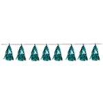 This Turquoise Metallic Tassel Garland is a tried and true way to add vibrant color, motion and interest to your event venue.  Completely assembled and easy to hang, this 8 foot long garland will be the finishing touch to your decor.  Reusable with care.