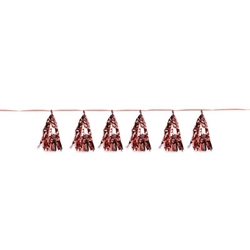 Rose Gold is THE It color, add this stylish trend to your party decor with ease with this Metallic Tassel Garland in Rose Gold.  This easily hung decoration requires no assembly and will add a beautiful shine and shimmer to your venue.