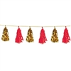 The Metallic & Tissue Tassel Garland is made of alternating gold metallic foil tassels and red tissue tassels. Has 12 tassels attached. Measures 9 3/4 inches by 8 feet long. Contains one per package.