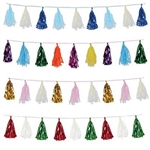 Each Metallic & Tissue Tassel Garland features elegant colors and measures eight feet in length. The combination of metallic & tissue tassel gives the garland a unique, eye-catching appearance. Comes one colorful garland per package!