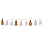 Whether you're celebrating a birthday party or want to decorate for a baby shower, our Metallic & Tissue Tassel is up to the task. The tassel measures eight feet in length and features exquisite gold, pink and ivory colors. Comes one garland per package.