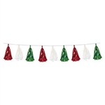 The red, white and green on this Metallic & Tissue Tassel Garland make it the ideal Christmas or Italian decoration. Measuring 8 feet in length, each garland contains twelve tassels in assorted tissue and foil colors of red, white, and green.