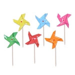 These fun, colorful Pinwheel Picks will add to any outdoor summer party. The package has yellow, light blue, green, pink, red and orange pinwheels, adding plenty of vibrant colors to the gathering. Comes with a total of 24 pinwheels per package.