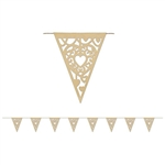 Celebrate Valentine's Day or an anniversary in style with these Die-Cut Kraft Paper Heart Pennant Banners. The simple light brown color makes the elegant design that much more captivating. The entire banner measures 12 feet in length. Comes one per pack.