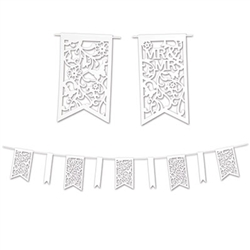"Celebrate a recent engagement or decorate for your anniversary by hanging this Die-Cut Mr & Mrs Pennant Banner. The white pennants say ""Mr & Mrs"" on them, along with an elegant, unique design. The entire banner measures 12 feet and comes one per package."