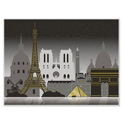 Hang the Paris Cityscape Insta-Mural on any wall to transform the space to a Paris scene. Printed in subtle tones of black, grey and gold, you'll see famous Paris landmarks silhouetted on each of these 5 foot by 6 foot printed murals. Made of thin plastic
