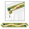 Whimsical woodland images of flowers, trees and mushrooms adorn this glossy paper table runner. Measuring 11 inches wide and 72 inches long it will highlight the center of your tables. A brown tassel is attached to each end of the runner.