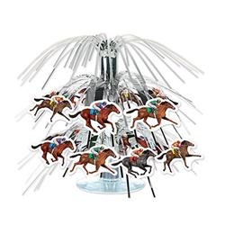 Decorate for derby day or a horse racing party with this Horse Racing Mini Cascade Centerpiece. The metallic silver strings have horses and jockeys at the end, giving it a neat look.  It measures 7.5 inches and comes one centerpiece and stand per package.