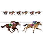 Get ready for derby day by decorating your home or race track with this Horse Racing Streamer. This streamer features jockeys and horses racing along a streamer that measures six feet long! Comes one Horse Racing Streamer per package.